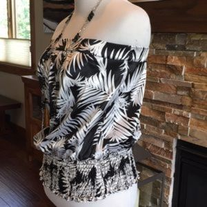White House Black Market Tops - White House Black Market Strapless Palm XS Top